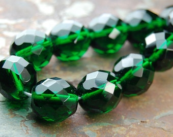 8mm Czech Beads Faceted  in Emerald Green -25