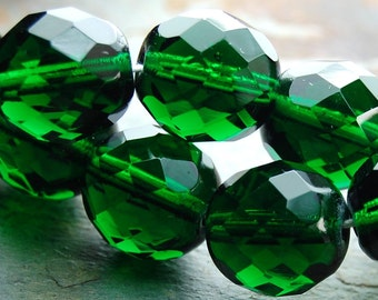 12mm Czech Beads Faceted  in Emerald Green -8
