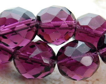 10mm Czech Beads Faceted  in Mulberry -16 inch strand
