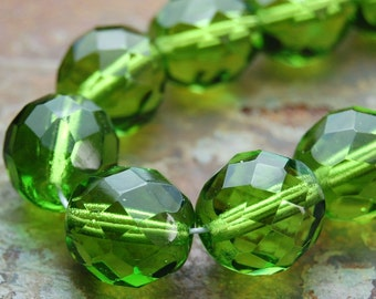 12mm Czech Beads Faceted  in Olivine Green -8