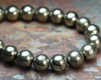 Natural Pyrite Beads 4mm Round (A grade) -15.5 inch strand