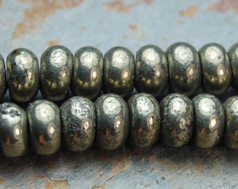 6x4mm Pyrite Rondelle Beads (A Grade) -16 inch strand