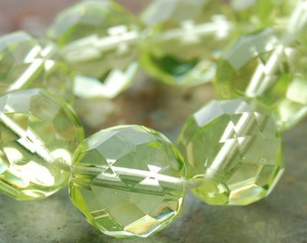 12mm Czech Beads Faceted  in Lime Green -8