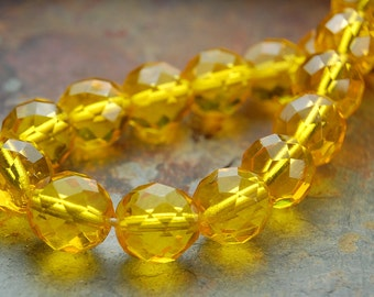 8mm Czech Beads Faceted  in Sunflower Yellow  -25