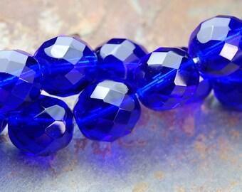 10mm Cobalt Blue Czech Glass Beads   - 10