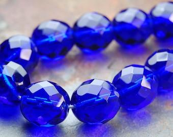 8mm Cobalt Blue Czech Glass Beads   - 25