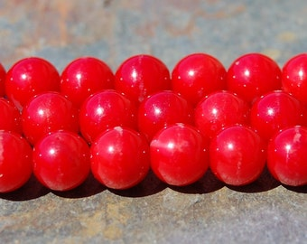 Coral Beads 6mm Round in Bright Red  -16 inch strand