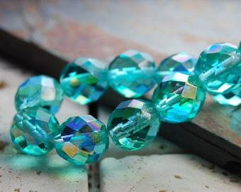 Aqua Green 8mm Faceted AB Czech Glass Beads   -25