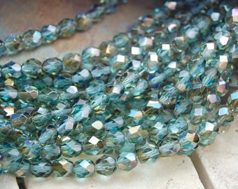 6mm Blue Aquamarine Celsian Crystal Czech Glass Faceted Bead  -25 czech beads