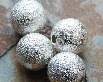 Silver Stardust covered Brass 12mm Beads- 10