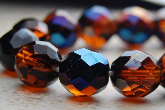 Czech Glass 10mm two-tone Fire Polished  Faceted Round Beads in Golden Honey/Midnight Blue- 16 inch strand