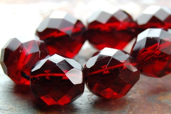 Red Garnet 10mm Faceted Czech Glass Beads   -10