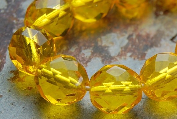 10mm Czech Beads Faceted  in Sunflower Yellow  -10