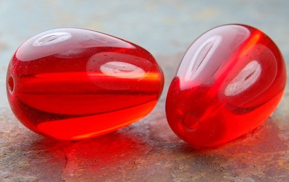 Glass Beads 17x11mm Red translucent large teardrops -6