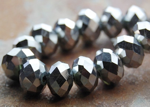 Silver Metallic 8x5mm Crystal Glass Rondelles -75