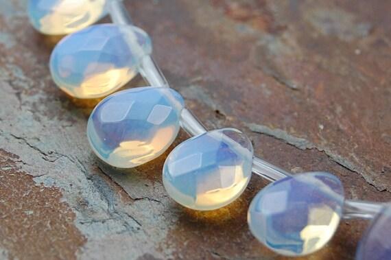 10x8 Sea Opal Crystal Glass Puffed Faceted Teardrop Briolette  -last 5