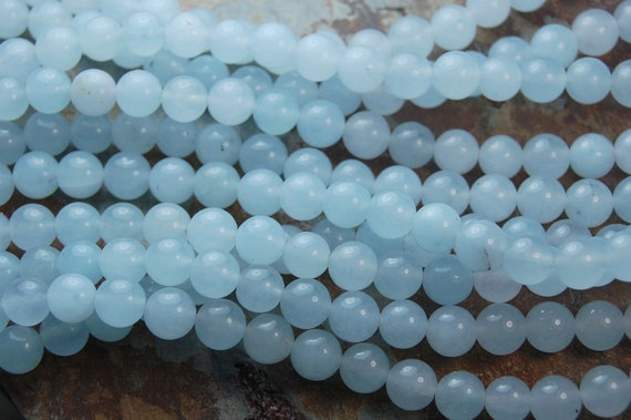 Alice Blue Jade 6mm Round Beads -7.5 inch strand