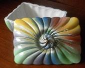 SALE 1960's Swirley Rainbow Porcelain Box