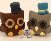 Cute Owl Same Sex Wedding Cake Toppers