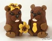 Cute Beavers Custom Wedding Cake Topper