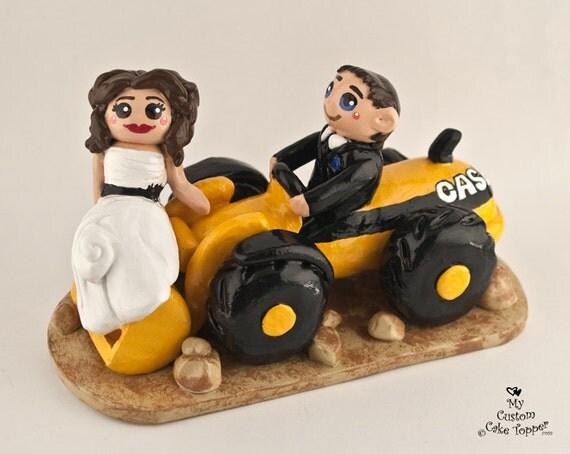 Bride and Groom Front Loader Wedding Cake Topper