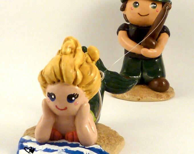 Bride and Groom Fishing Mermaid Wedding Cake Topper