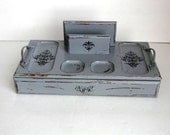 Upcycled Vintage Jewelry Box - Hand Painted Valet - Shabby and Chic Jewelry Box - gift for him