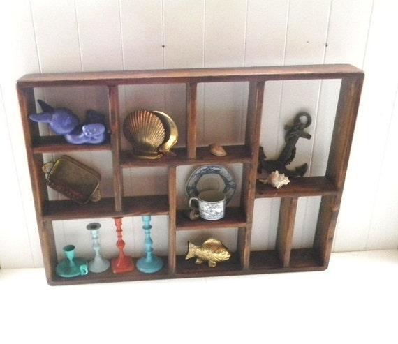 Vintage Pine Wood Wall Shelf - Urban Farmhouse Shadow Box - Display Shelf