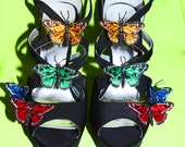 Whimsical Butterfly Crystalled High Heeled Sandals