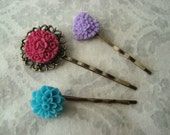 Flower Hair Pins: Pink, Teal, and Purple Floral Bobby Pins Hair Accessory