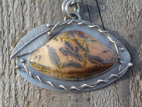 Avatar Fern Jasper Sterling Silver Leaf Necklace