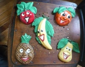 Vintage Fruit Faces Chalkware Kitchen Decor