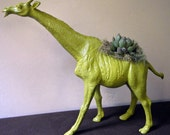 Moss Green Giraffe Planter - Modern Art Centerpiece