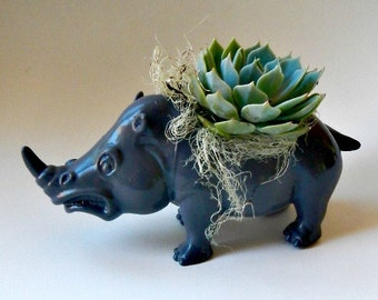 Succulent Planter Centerpiece - Slate Grey Rhino Animal Planter - Desk Accessory - Valentine Gift