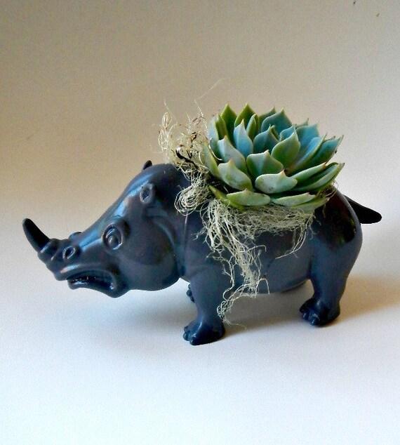 Succulent Planter Centerpiece - Slate Grey Rhino Animal Planter - Desk Accessory - Valentine Gift
