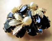black gold pearl brooch