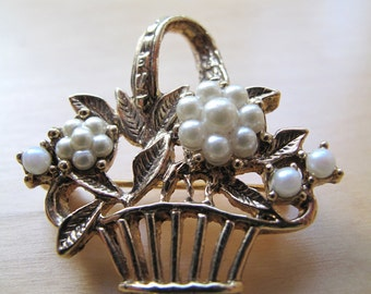 gold basket brooch pin with pearl flowers