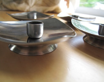 set of four stelton denmark selandia stainless steel candle holders