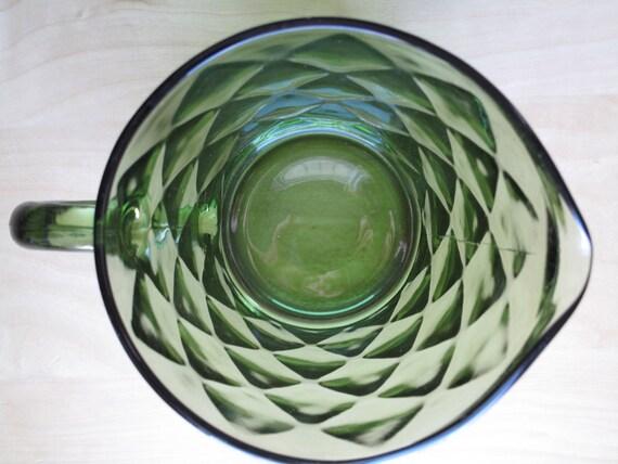 hazel atlas/continental can co. green glass diamond pitcher