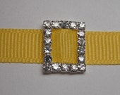 2 Square Rhinestone Ribbon Buckle Slider for Hair Bows, Cards or Wedding Invitations