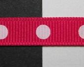 Hot Fuchsia Pink & White Mod Circle Polka Dots Printed Grosgrain Ribbon 3/8