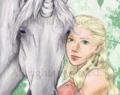 Fantasy Unicorn Fairy Faerie LotR Elf ACEO ATC Sfa art print - Brandy Woods