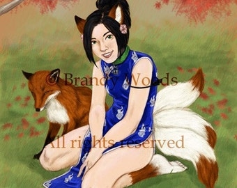 Cute Japanese KITSUNE Anthro girl fantasy art print - Brandy Woods