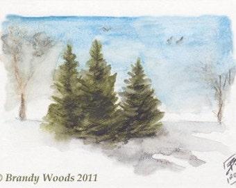 Three Pines winter ACEO art print Brandy Woods