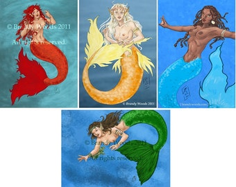 Elemental Mermaids ACEO set of 4 prints Brandy Woods