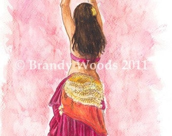 Belly Dance Gypsy ACEO fantasy art print pink fuchsia - Brandy Woods