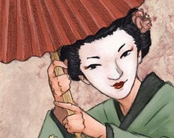 Japanese Geisha w/ Umbrella ACEO art print - Brandy Woods