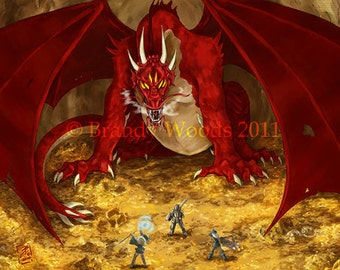 Fantasy Red DRAGON lair RPG ACEO sfa art print - Brandy Woods
