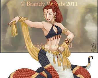 Sexy Snakewoman Naga Priestess fantasy pin up ACEO AFA art print - Brandy Woods