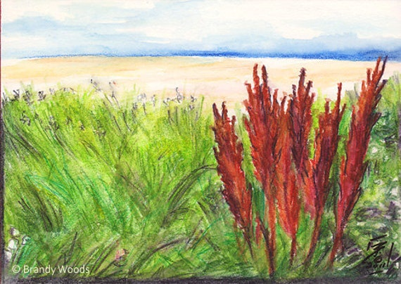 Relax Beach Watercolor Original Landscape Painting art SFA red Brandy Woods
